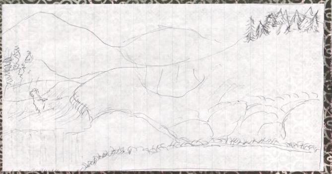Mountain Serenity Sketch