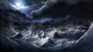 /the image shown is not an ordinary body of water, but gives a beautiful if unusual visual idea of an ocean cross with itself as storm clouds hover.